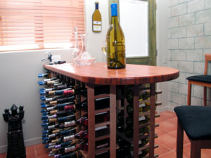 Picture of wine cellar table top.